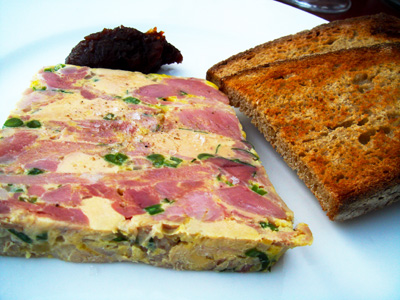 The delectable terrine, served with warm toasted bread