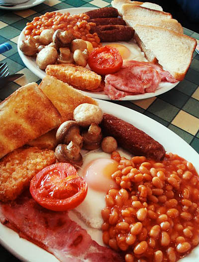 The English fry-up, with fried bread...heart attack!!