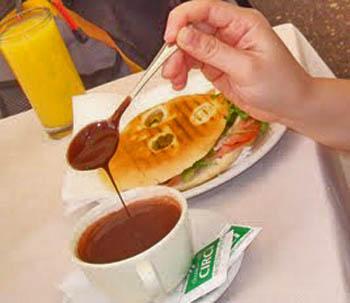 Rome: Breakfast panini with thick italian hot choc