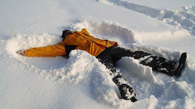 P making snow angels in untouched snow!
