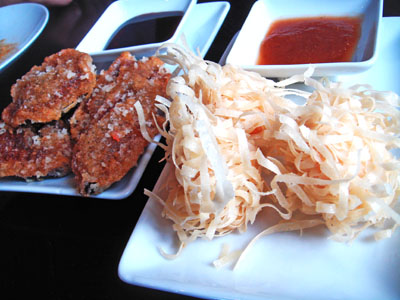 More fried goodies - crispy aubergine (left) and fried prawn balls