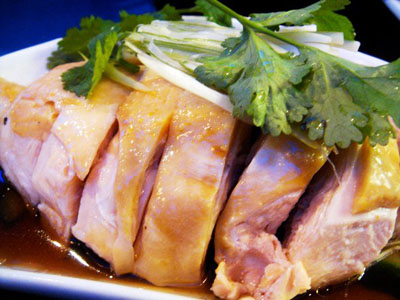 Steamed hainanese style chicken